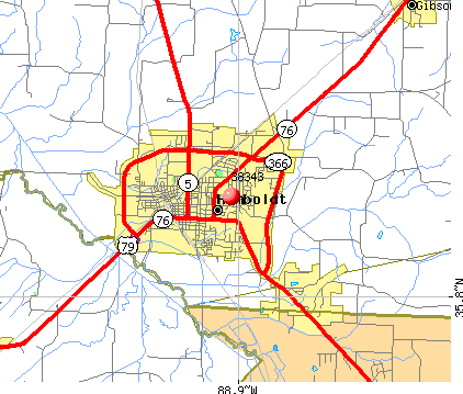 Humboldt, TN (38343) map