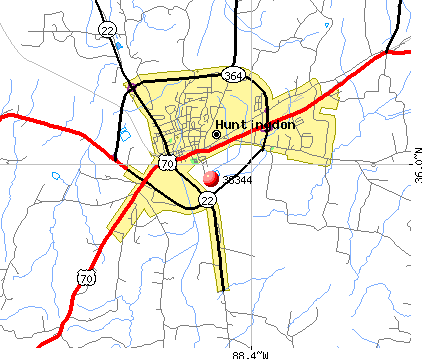 Huntingdon, TN (38344) map