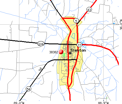 Trenton, TN (38382) map