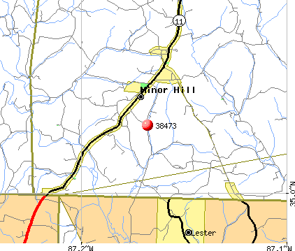 Minor Hill, TN (38473) map