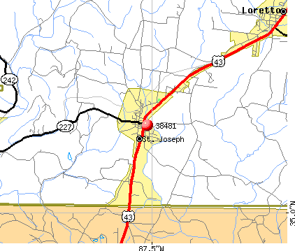St. Joseph, TN (38481) map