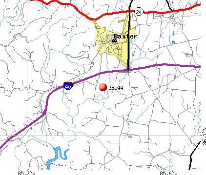 Baxter, TN (38544) map