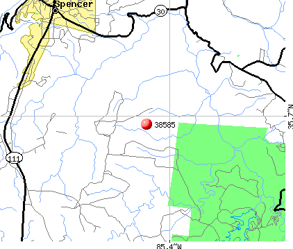 Spencer, TN (38585) map