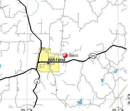 Ashland, MS (38603) map