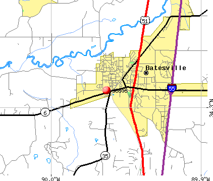 Batesville, MS (38606) map
