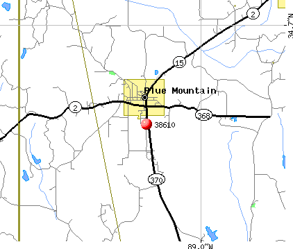 Blue Mountain, MS (38610) map