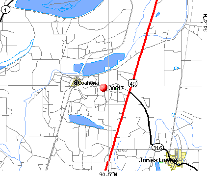 Coahoma, MS (38617) map