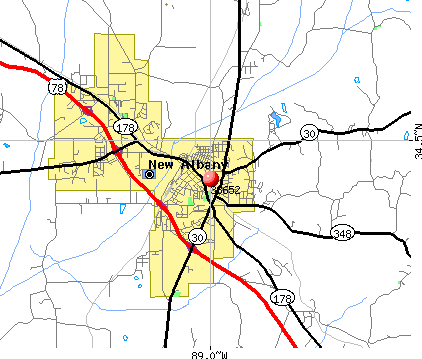 New Albany, MS (38652) map