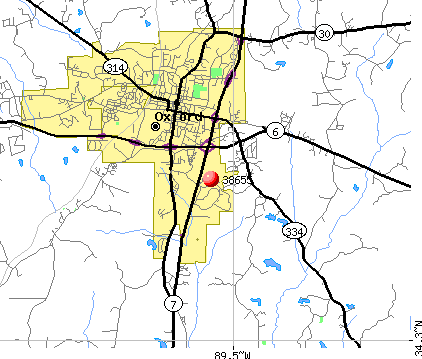 Oxford, MS (38655) map
