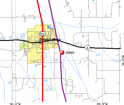 Senatobia, MS (38668) map