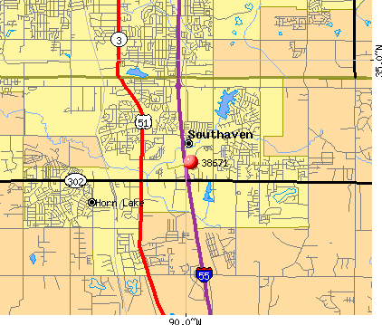 Southaven, MS (38671) map