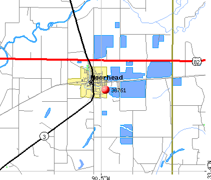 Moorhead, MS (38761) map