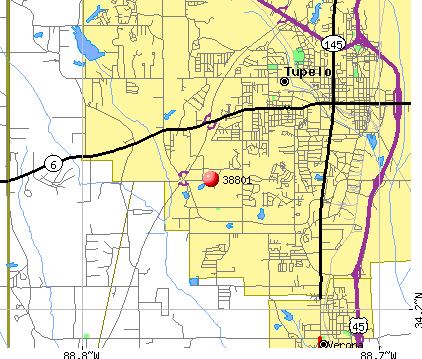 Tupelo, MS (38801) map