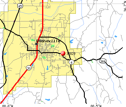 Booneville, MS (38829) map