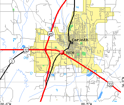 Corinth, MS (38834) map