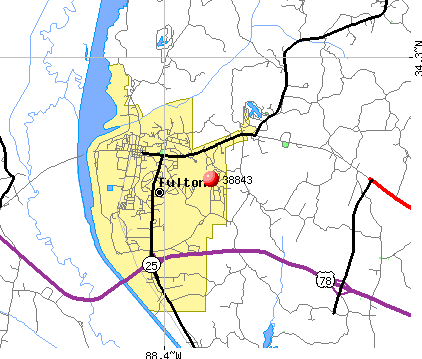 Fulton, MS (38843) map