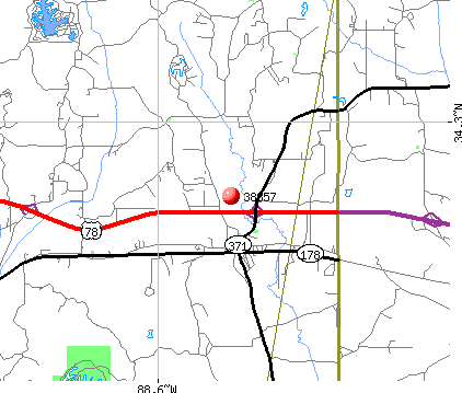 Mooresville, MS (38857) map