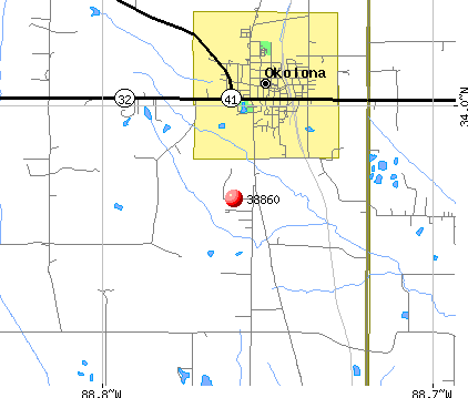 Okolona, MS (38860) map