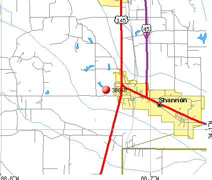 Shannon, MS (38868) map