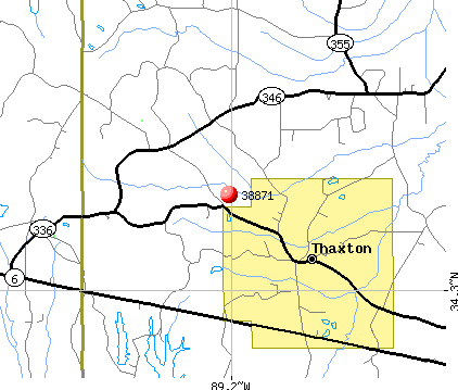 Thaxton, MS (38871) map