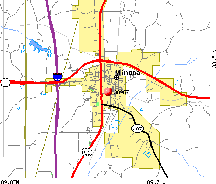 Winona, MS (38967) map