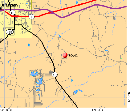 Brandon, MS (39042) map