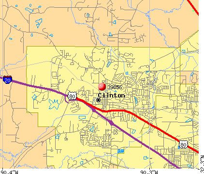 Clinton, MS (39056) map