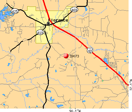 Florence, MS (39073) map