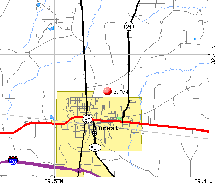 Forest, MS (39074) map