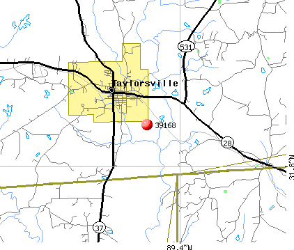 Taylorsville, MS (39168) map