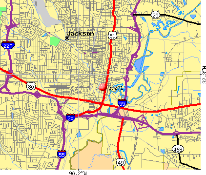 Jackson, MS (39201) map