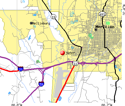 Meridian, MS (39307) map