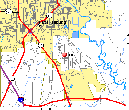 Hattiesburg, MS (39401) map