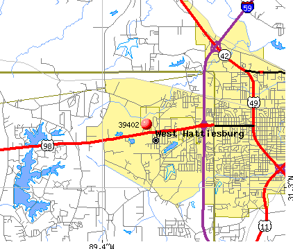 Hattiesburg, MS (39402) map