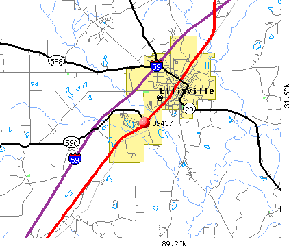 Ellisville, MS (39437) map