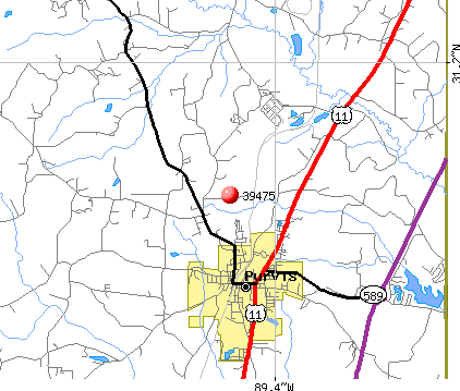 Purvis, MS (39475) map
