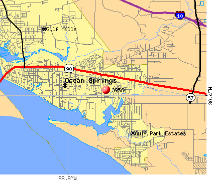 Ocean Springs, MS (39564) map