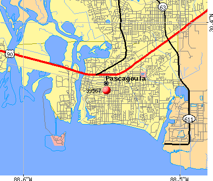 Pascagoula, MS (39567) map