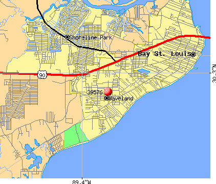 Waveland, MS (39576) map