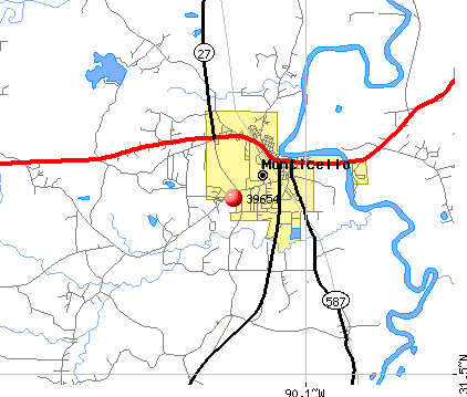 Monticello, MS (39654) map