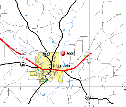 Tylertown, MS (39667) map