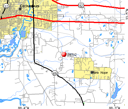 Columbus, MS (39702) map