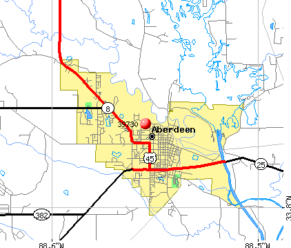 Aberdeen, MS (39730) map