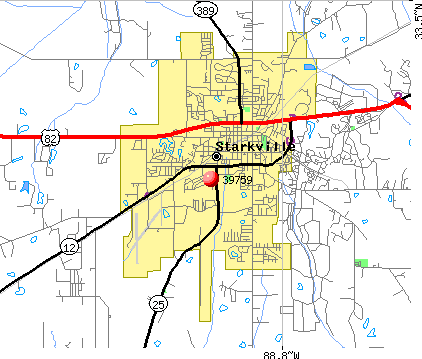 Starkville, MS (39759) map