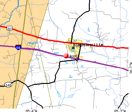 Simpsonville, KY (40067) map