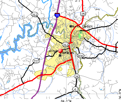 Corbin, KY (40701) map