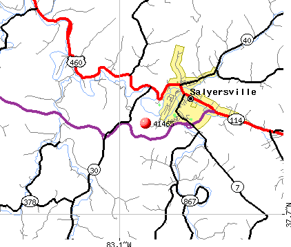 Salyersville, KY (41465) map