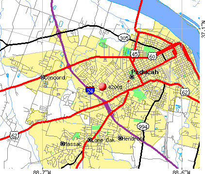 Paducah, KY (42001) map