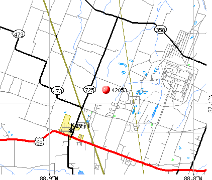 Kevil, KY (42053) map