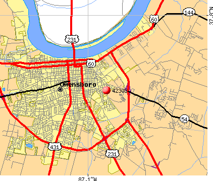 Owensboro, KY (42303) map